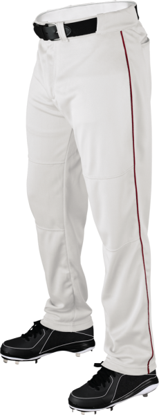 WTA4332 P200 Adult Piped Baggy Pant white/scarlet